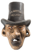 """Cast Iron Top Hat Man """"Ole Masters Brewery"""" Wall Mount Bottle Opener"""