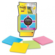 Post-it Super Sticky Full Adhesive Notes, 7.6cm x 7.6cm , Assorted Ultra Colours, 4-Pads/Pack