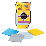 Post-it Super Sticky Full Adhesive Notes, Assorted Colours-Lined, 7.6cm x 7.6cm , 4 Pads/Pack