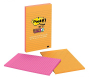 Post-it Super Sticky Notes, 13cm x 20cm , Assorted Ultra Colours, Lined, 2-Pads/Pack