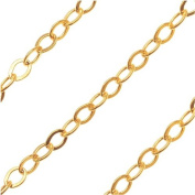 14K Gold Filled Fine Flat Cable Chain 2x1.5mm Oval Links - Sold Bulk By The Foot