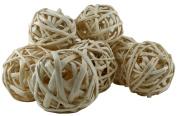 Decorative Wicker Rattan Balls Natural 10cm 8 Pcs