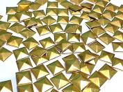 100 Metal 9mm Gold HOT FIX Pyramid Studs Stick on Embellishments, Punk, Goth, DIY Fashion