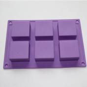 X-Haibei Mini 6-cavity Basic Plain Square Soap Silicone Mould for Homemade Craft 5.1cm Width 5.1cm Length 2.5cm Depth /Cavity