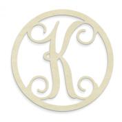 UNFINISHEDWOODCO Single Letter Circle Monogram-K, 48cm , Unfinished