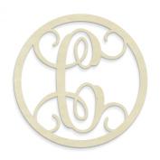UNFINISHEDWOODCO Single Letter Circle Monogram-C, 48cm , Unfinished