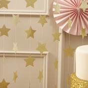 Ginger Ray Gold Sparkling Star Garland Bunting for Weddings or Parties - Pastel Perfection