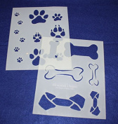 Dog Bone/Paw Print 2 Piece Stencil Set 14 Mil 20cm X 25cm Painting /Crafts/ Templates