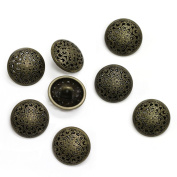 Set of 8 Large Antique Brass Metal Filigree Buttons