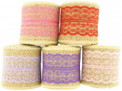 Trimweaver 10-Yard 6.4cm Natural Burlap Ribbon with Lace Ribbon Variety Pack for Craft, Multiple Colours, Purple, Pink, Hot Pink, Lt. Orchid, Red