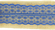 Trimweaver 2-Yard Natural Burlap with Royal Blue Lace Ribbon for Craft, 6.4cm