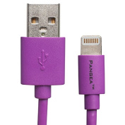 Pangea Apple Certified Lightning to USB Charge & Sync Cable - 1.5m - for iPhone 5 (5/5S/5C), iPad Air, iPad Mini with Retina, iPad (4th gen), iPad Mini, iPod touch (5th gen), and iPod nano (7th gen) - Purple.