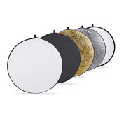 Maycream 32-inch 80cm Portable 5 in 1 Translucent, Silver, Gold, White, and Black Collapsible Round Multi Disc Light Reflector for Studio or Any Photography Situation