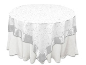 BalsaCircle 220cm x 220cm White Embroidered Sheer Organza Table Overlays - Wedding Reception Party Catering Table Linens Decorations