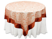 BalsaCircle 220cm x 220cm Burnt Orange Embroidered Sheer Organza Table Overlays - Wedding Reception Party Table Linens Decorations