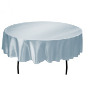 LinenTablecloth 180cm Round Satin Tablecloth Baby Blue