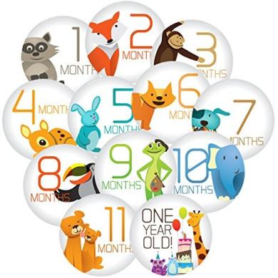 "Stick'Nsnap(TM) 12 baby boy or girl, milestones monthly stickers, ""Happy Animals"",Grey. 8.3cm diameter. To put on shirt, bodysuit, creeper or ONESIE®"