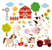 Farm Friends Baby/Nursery Peel & Stick Wall Art Sticker Decal