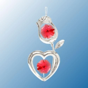 Hanging Sun Catcher or Ornament..... Rose with Heart Stem in Red. Austrian Crystals