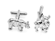 Leaf Jewel Financial Stock Market Bear and Bull Alloy Cuff Links