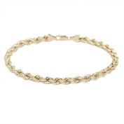 Diamond Cut Hollow Rope Chain Bracelet and Anklet for Men & Women Yellow Gold - 10k - 3mm