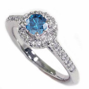 .90CT Blue Diamond Pave Halo Ring 14K White Gold