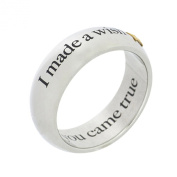 Stainless Steel I Made A Wish and You Came True with Gold Star Poesy Ring