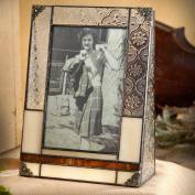 J Devlin 4x6 Vertical Glass Photo Frame- Vintage, Opal & Brown