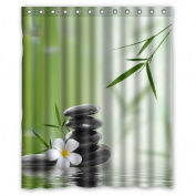 Custom Bamboo Waterproof Polyester Fabric 150cm (w) x 180cm (h) Shower Curtain and Hooks