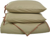 Impressions Cotton Blend 600 Thread Count , Soft, Wrinkle Resistant 2-Piece Twin Duvet Cover Set, Bahama Solid, Sage with Mocha Trim