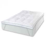 BioPEDIC Memory Plus Deluxe 7.6cm Gel Memory Foam and Fibre Bed Topper with Anchor Bands, King, White