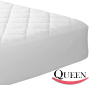 Quilted Fitted Mattress Pad (Queen) - Mattress Cover Stretches up to 41cm Deep - Mattress Topper by Utopia Bedding