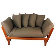 Casual Home Casual Lounger Sofa Bed Fabric Cover, Single, Oak Frame/Khaki