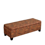 Handy Living OTT410-PGP46 Wall-Hugger Hinged Bench Microfiber Storage Ottoman, Glasgow Paisley