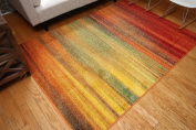 Radiance Art Collection Contemporary Modern Lines Gradient Yellow Blue Orange White Wool Area Rug Rugs 6002 2.1m3m x 3m10