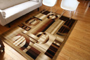 Feraghan/New City Brand New Contemporary Modern Squares Circles Area Rug, 0.6m x 0.9m, Brown/Beige