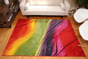 Radiance Art Collection Contemporary Modern Lines Gradient Yellow Blue Orange Purple Wool Area Rug Rugs 6003 2 x 3