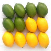 Moving Box 6pcs Green & 6pcs Yellow Artificial Lifelike Simulation Lemon Fake Fruit Home Kitchen Cabinet Decoration