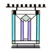 Glass Hanukkah Menorah - Purple and Blue Stained Regent Glass - Modern Design with Metal Frame. By