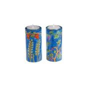 Yair Emanuel Round Shabbat Candlesticks with Seven Species