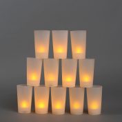 12 Frosted Flameless Party Votives with Amber LEDs, 10cm , Water Resistant, Indoor/Outdoor Use, Batteries Included