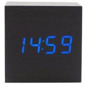 sdber®Fashion Cube Mini Black Wood Grain Blue LED Light Alarm Clock with Time and Temperature Display & Sound Control