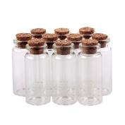 UZZO 10pcs Glass Message Bottles Wishing Jars Spice Storage Vials with Cork Stoppers - Size:5cm tallx 2.2cm diameter