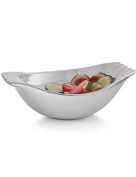 Nambe Drift Serving Bowl with Wood Servers, Large, Silver