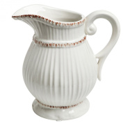 White Ceramic Vintage Style French Country Water Pitcher Flower Vase / Decorative Bouquet Holder - MyGift