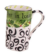 Young's Ceramic Water Pitcher with Black Swirls, 20cm