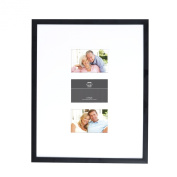Prinz 41cm by 50cm Wide Matted to 3-Opening 10cm by 15cm Gallery Expressions Frame Black Finish
