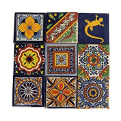 9 Hand Painted Talavera Mexican Tiles 10cm x 10cm Spanish Influence