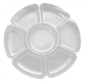 Party Essentials Hard Plastic 41cm Round 7-Section Serving Tray, Crystal Clear, Single Unit
