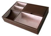 Sodynee® 25cm Brown Leatherette Valet Tray - 5 Compartments Fully lined in Cream Colour